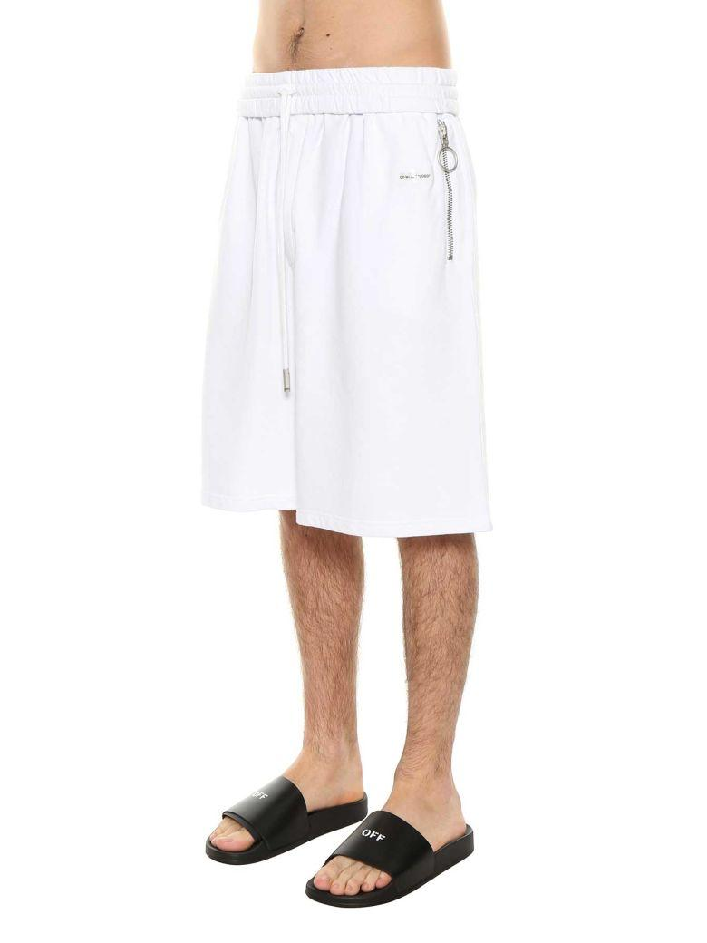 Off-white Oversized Track Shorts In Bianco