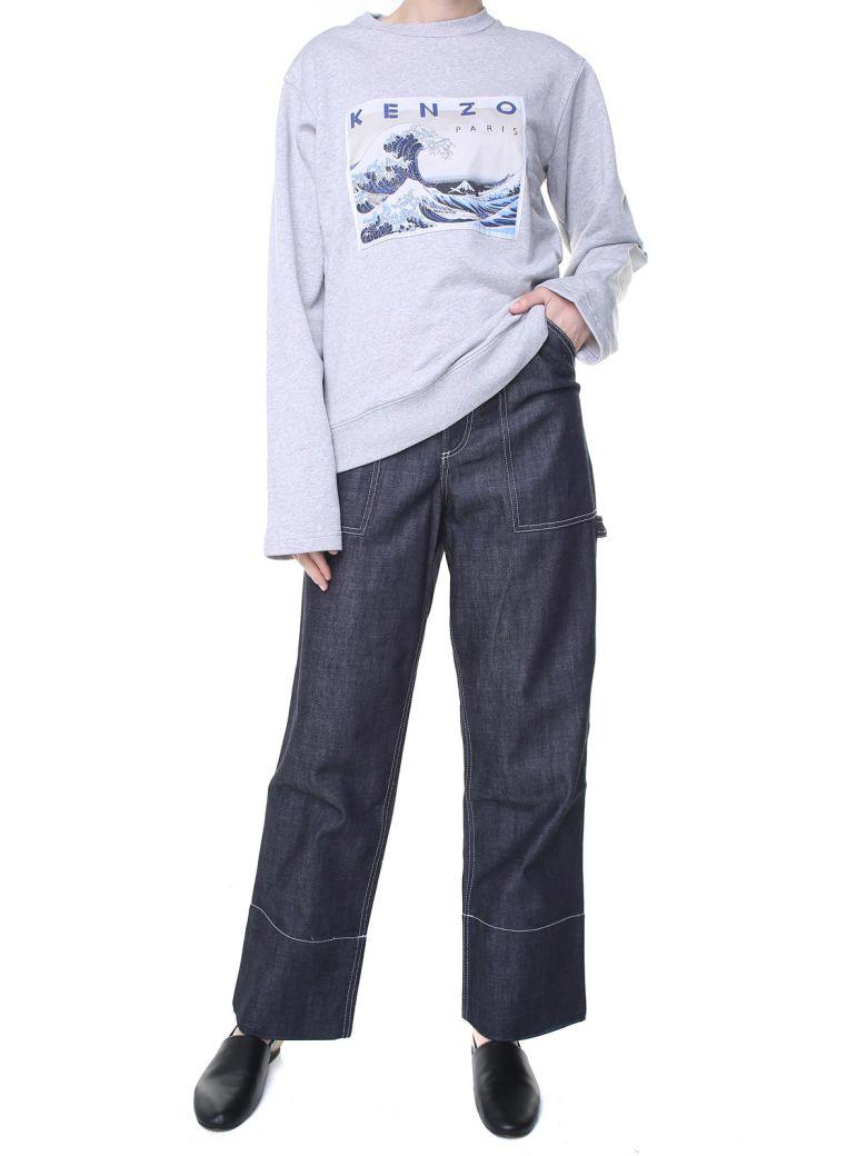 Kenzo Kanagawa Wave Cotton-jersey Sweatshirt In Grigio