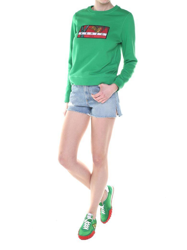 Kenzo Bamboo Tiger Cotton-jersey Sweatshirt In Verde