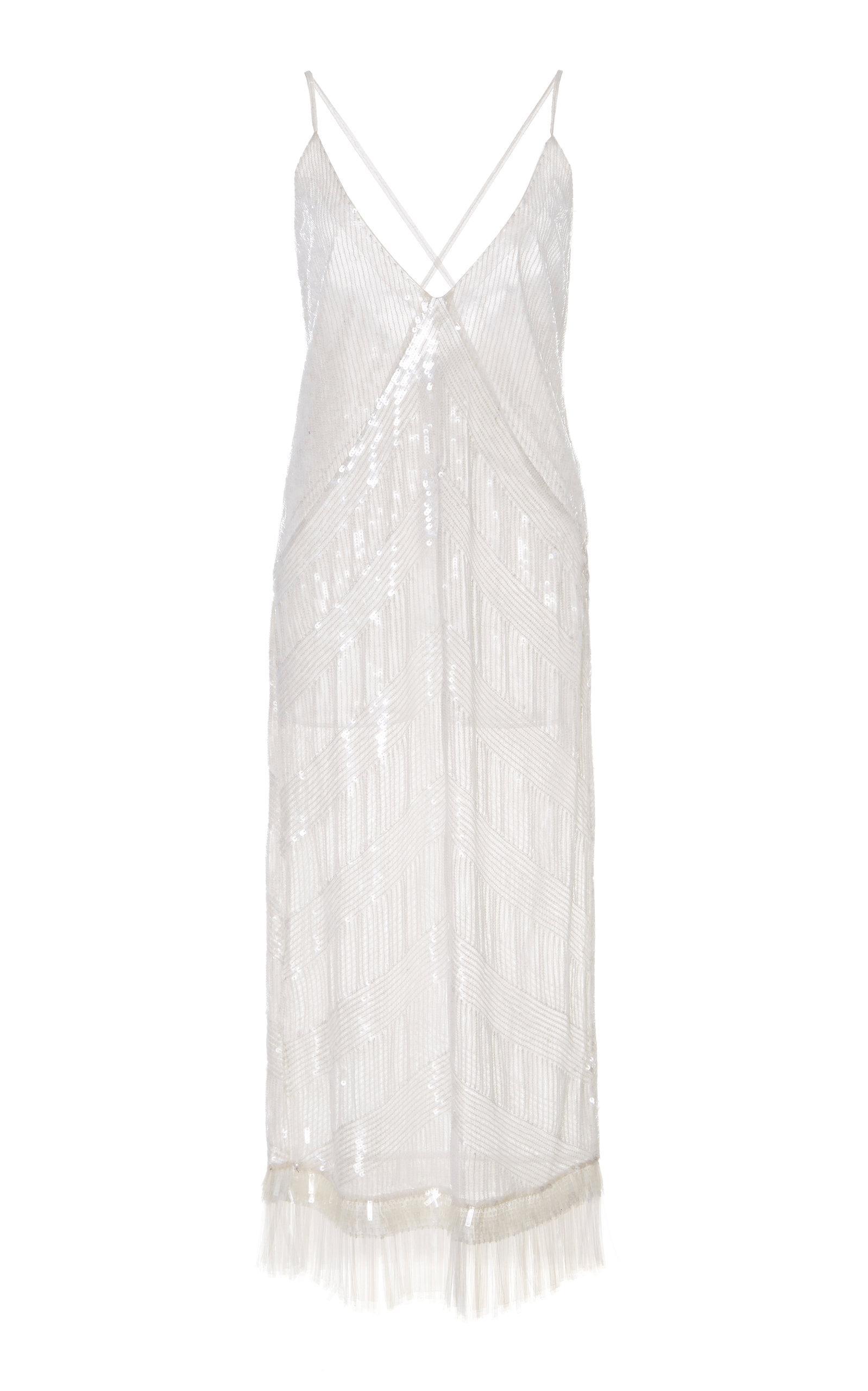 Rahul Mishra Eclat Fringe Dress In White