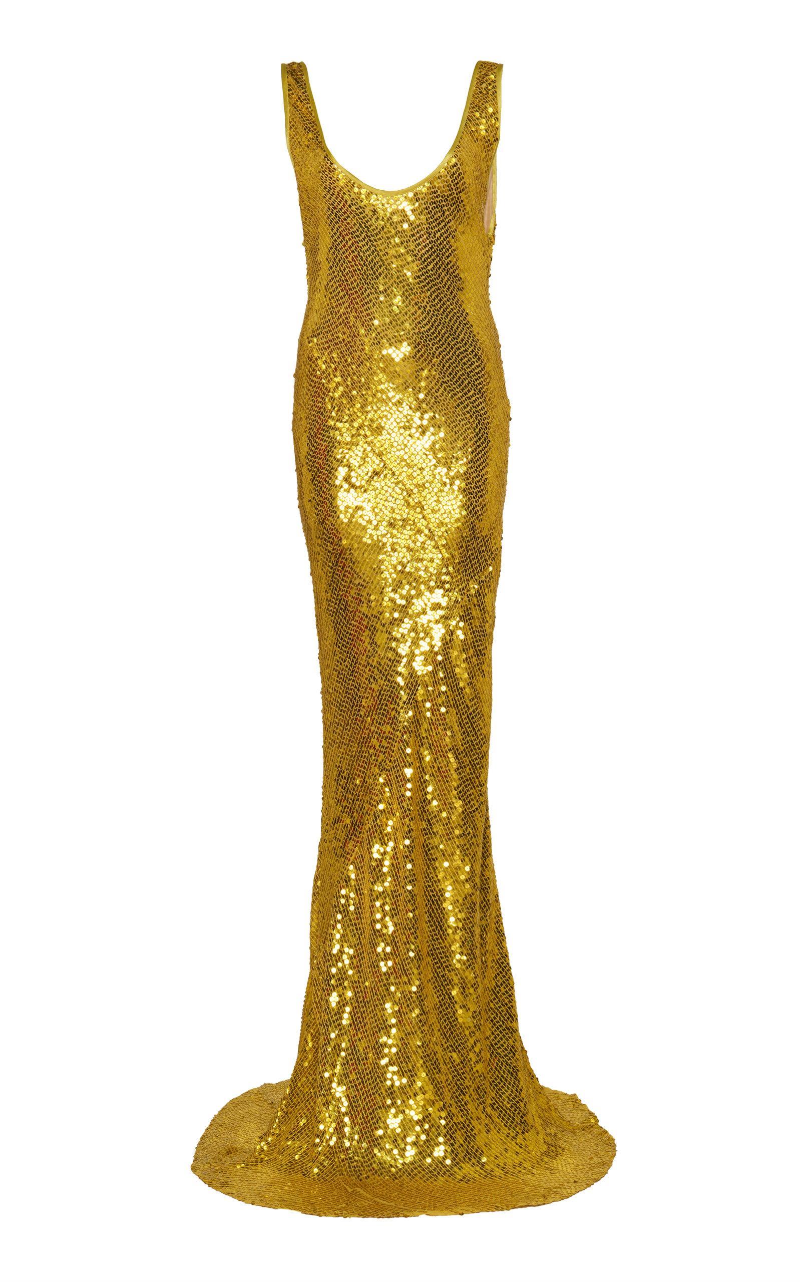 Galvan Sequined Valletta Dress In Yellow