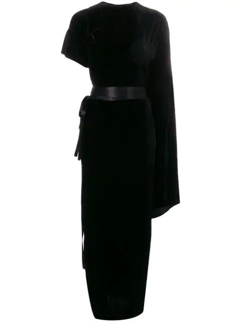 A.w.a.k.e. Asymmetric Draped Velvet Maxi Dress In Black