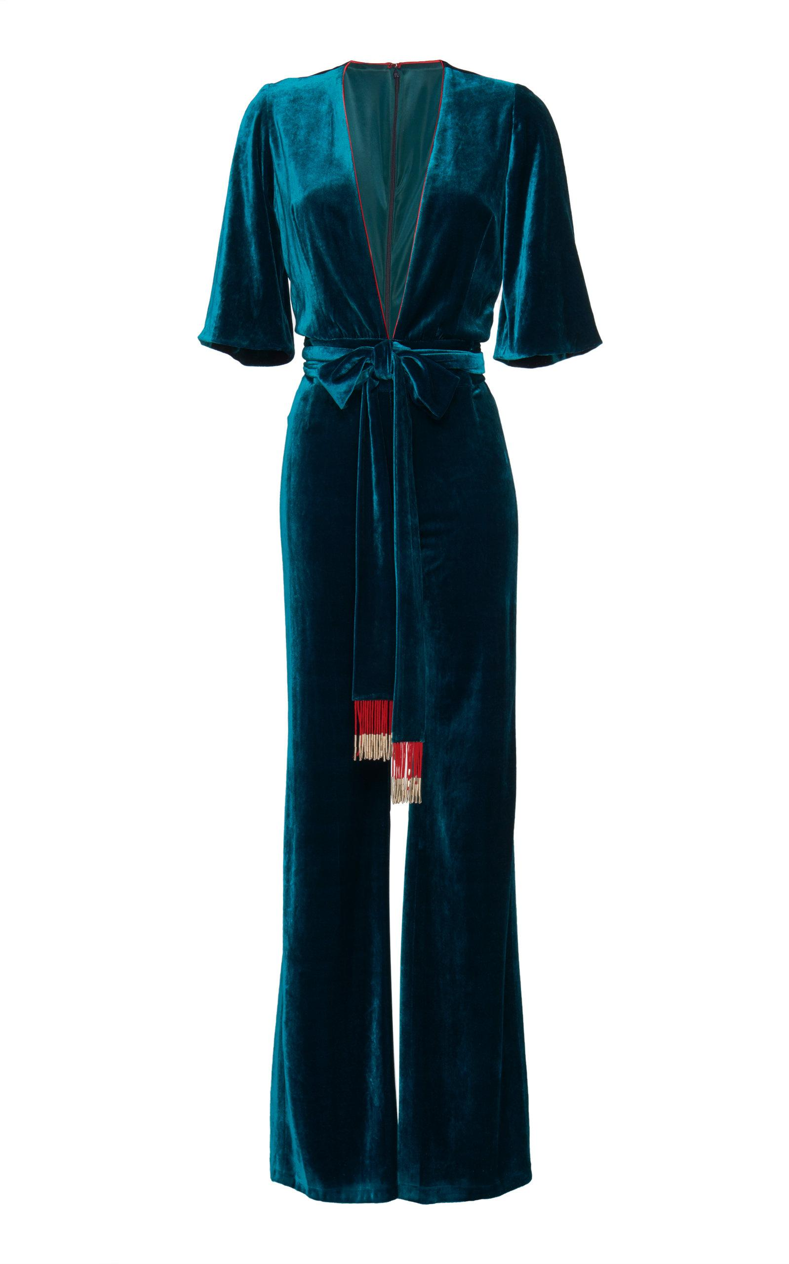 Galvan Moss Velvet Belted Jumpsuit In Blue