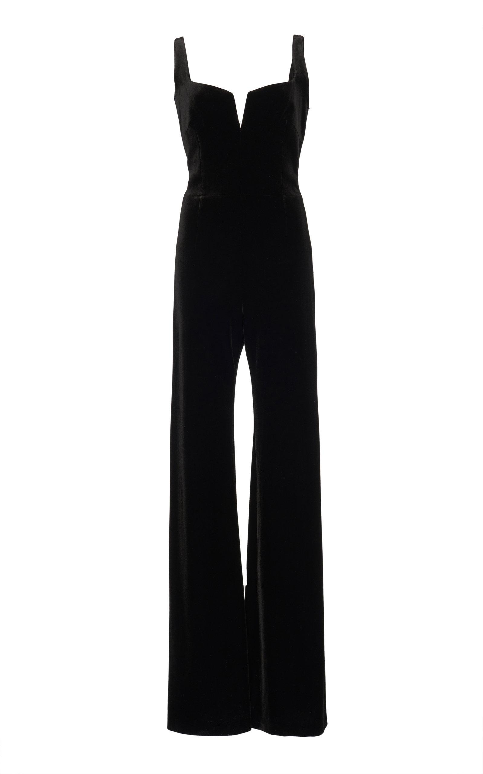 Galvan Velvet Eclipse Jumpsuit In Black
