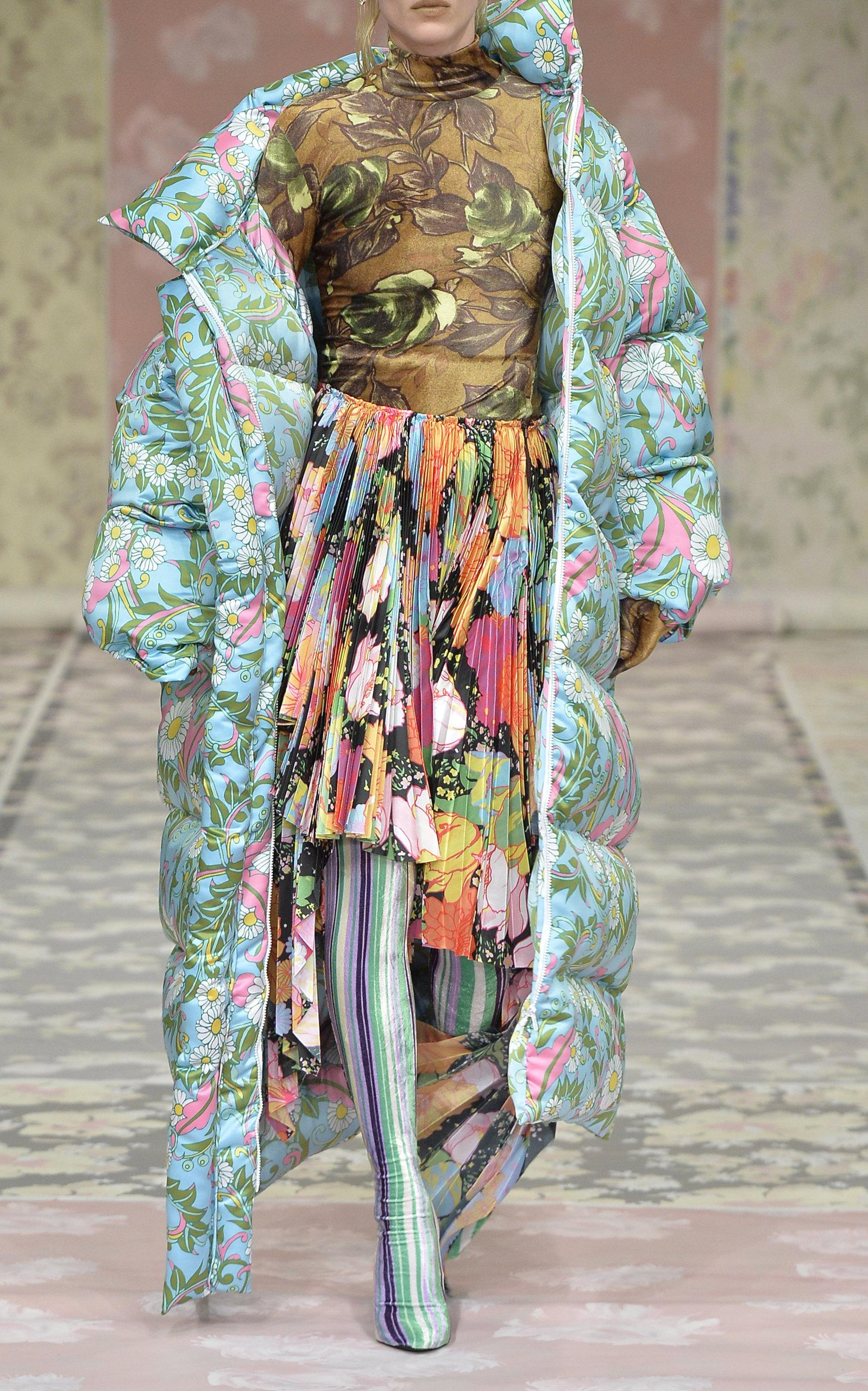 Richard Quinn Long Puffer Coat In Floral