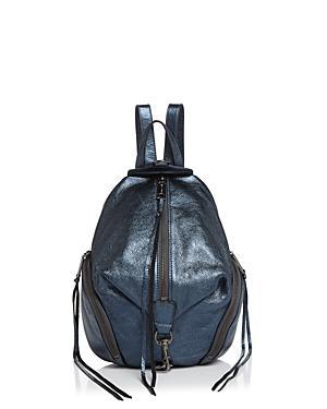 Rebecca Minkoff Octavio Blue Laminated Leather Medium Julian Backpack In Octavio/gunmetal
