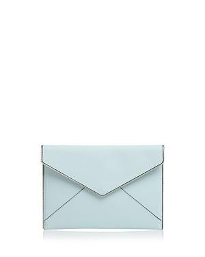 Rebecca Minkoff Leo Leather Envelope Clutch In Aquamarine