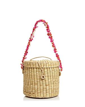 Nannacay Ana Cherry-blossom Straw Bucket Bag In Natural/multi