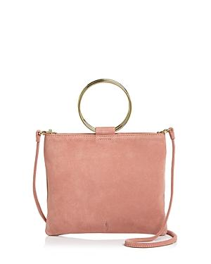 Thacker Le Pouch Suede Crossbody In Blush/gold