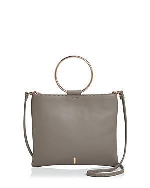 Thacker Le Pouch Leather Crossbody In Fog/rose Gold