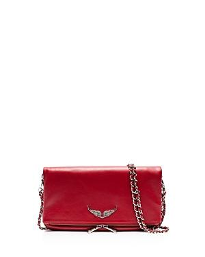 Zadig & Voltaire Rock Leather Crossbody Clutch In Rouge Red/silver
