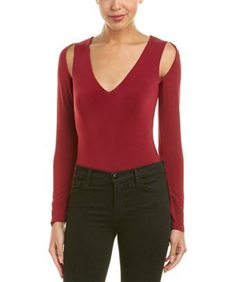 Bcbgmaxazria Cold-shoulder Bodysuit In Red
