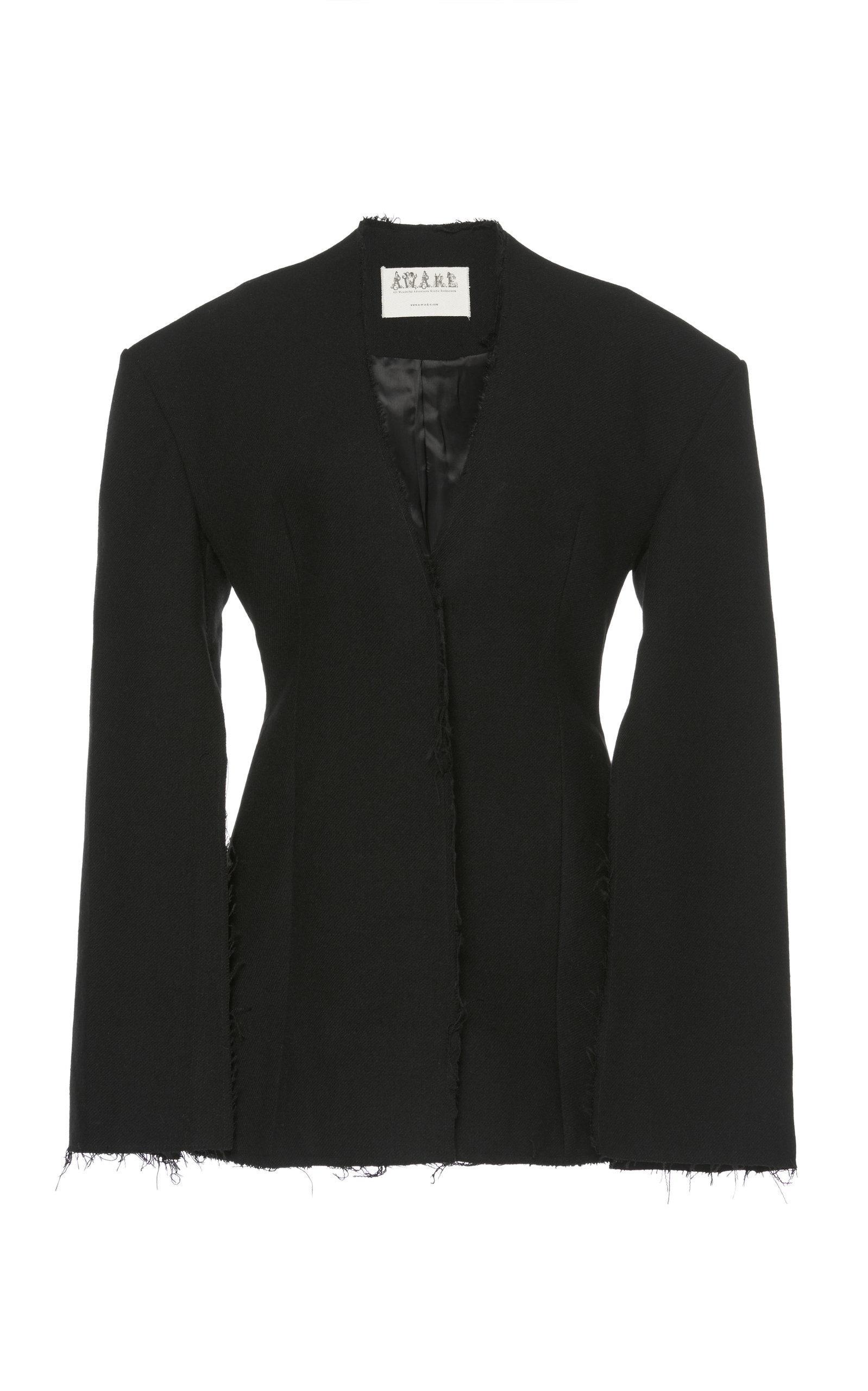 A.w.a.k.e. Collarless Split Sleeve Jacket In Black