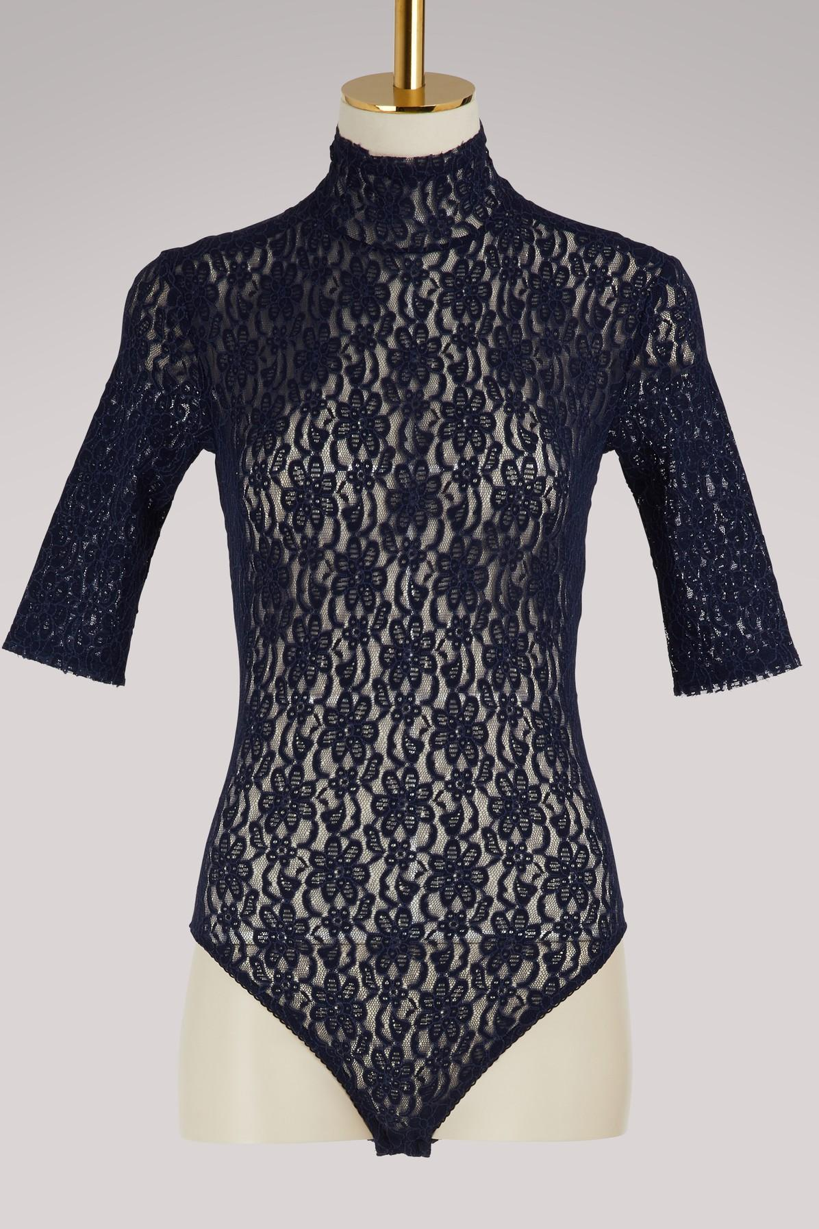 Nina Ricci Lace Leotard In Navy