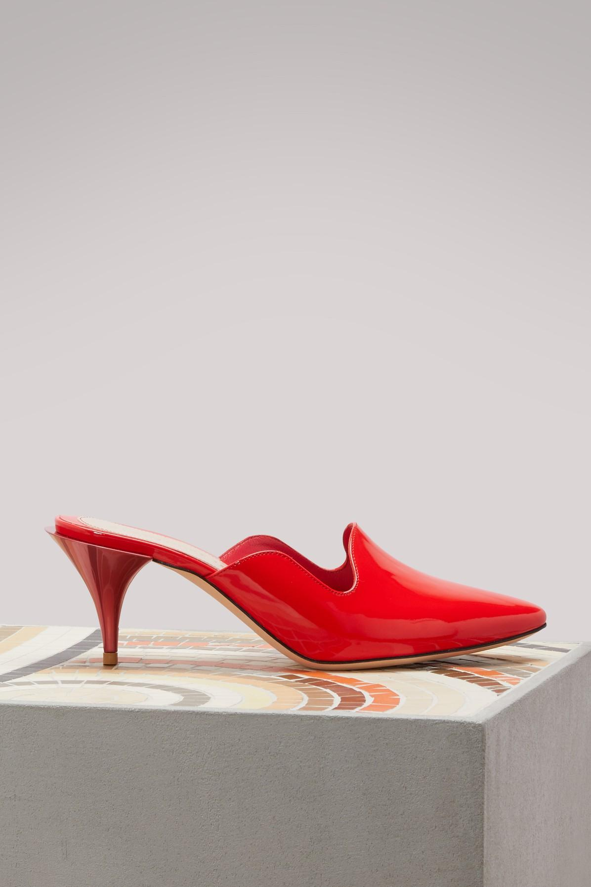 Alexander Mcqueen Leather Mules In 6409 - Lust Red