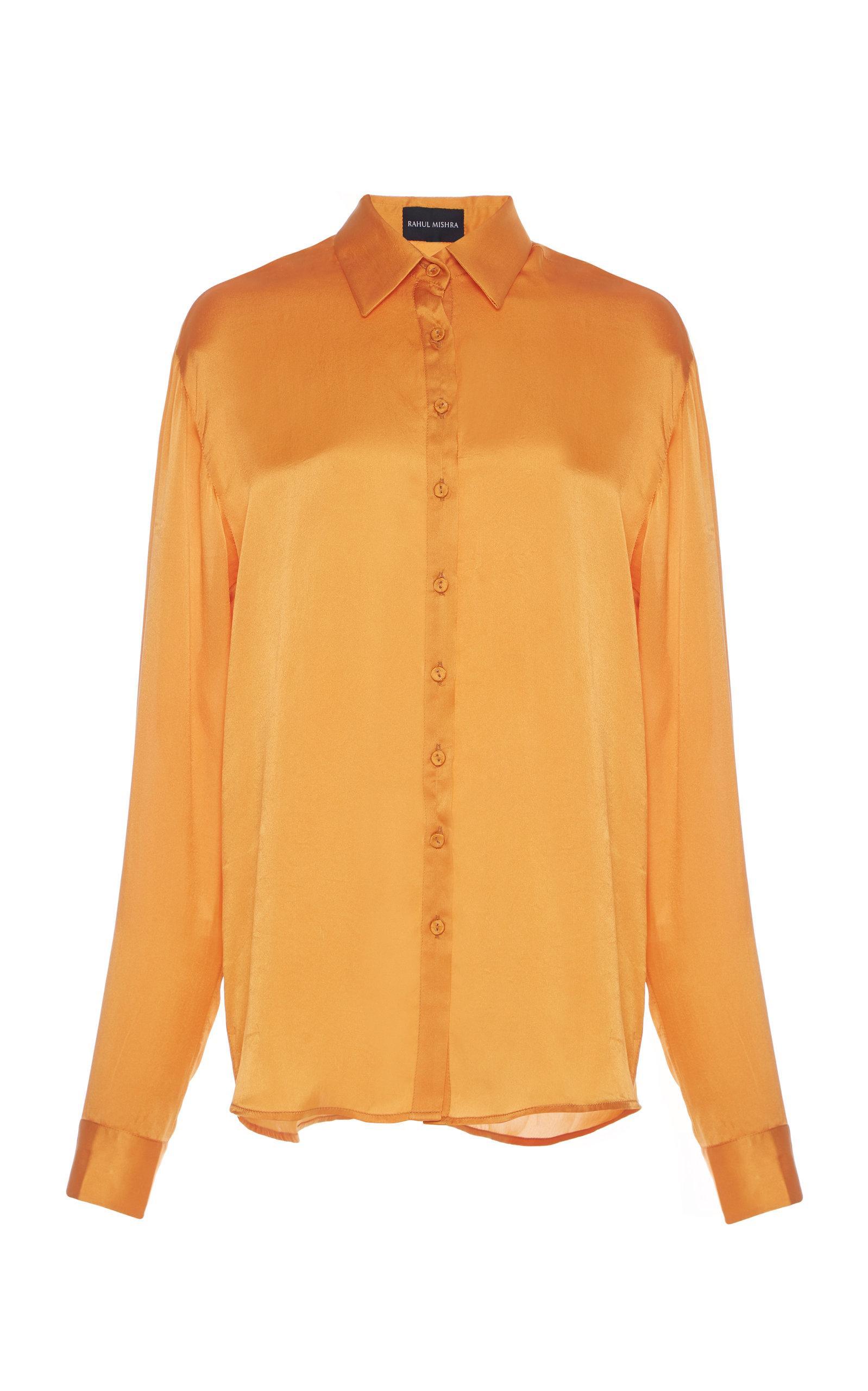 Rahul Mishra Silk Collared Blouse In Orange