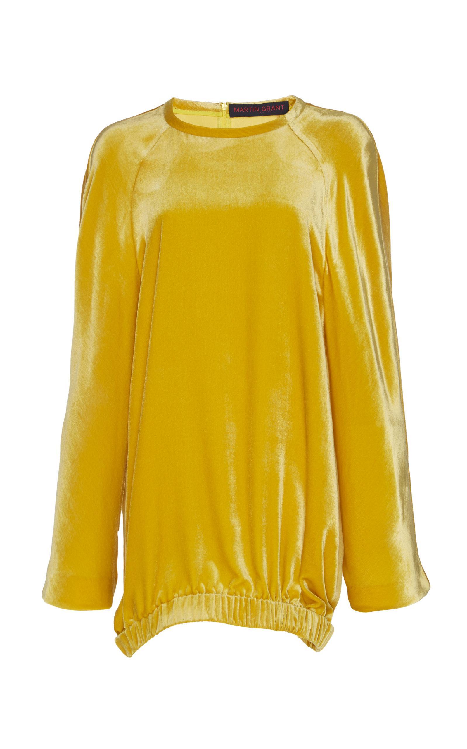 Martin Grant Velvet Sweater In Yellow