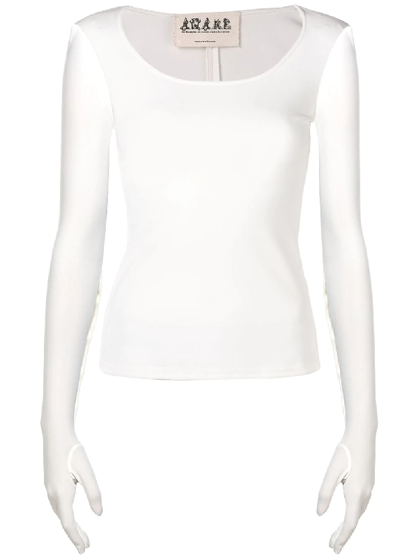 A.w.a.k.e. Scoop Neck Gloved Top In White
