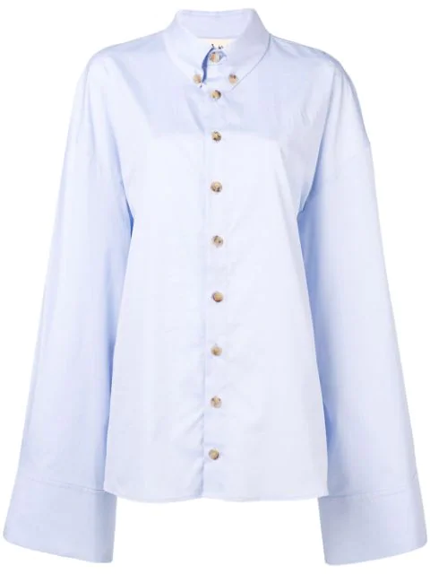 A.w.a.k.e. Oversized Crisp Cotton Shirt In Blue