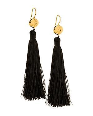 Gorjana Leucadia Tassel Earrings In Black/gold
