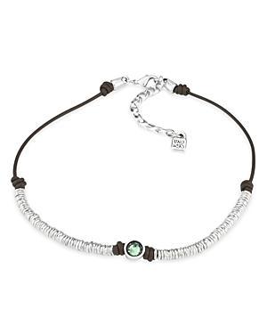 Uno De 50 Green Berry Crystal Necklace, 14 In Silver/brown