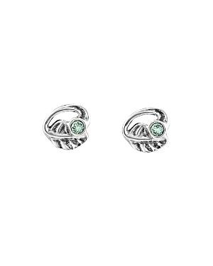 Uno De 50 Leaf Crystal Stud Earrings In Silver