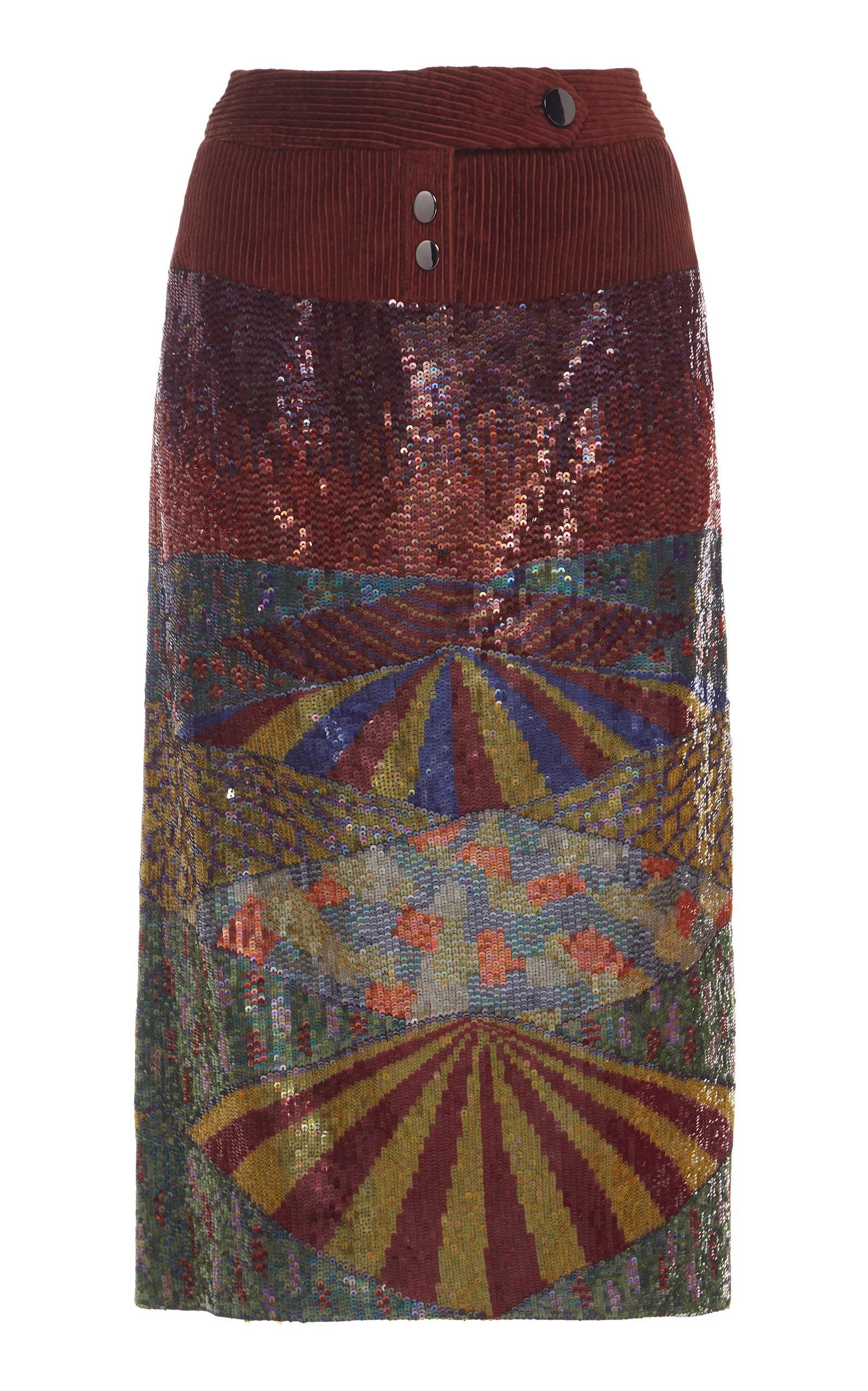 Rahul Mishra Gouden Sequin Skirt In Multi