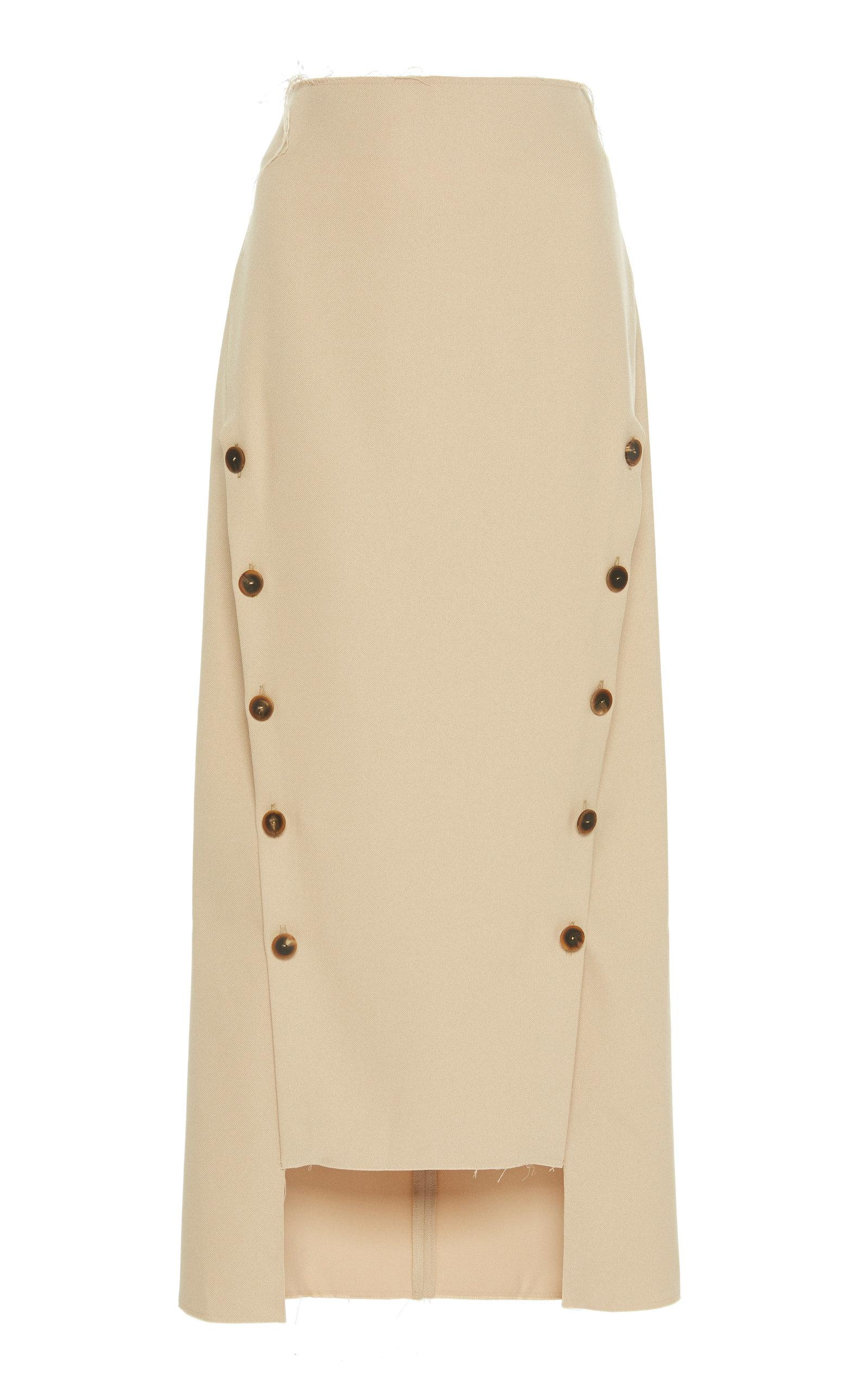 A.w.a.k.e. Double Button Twill Skirt In Brown