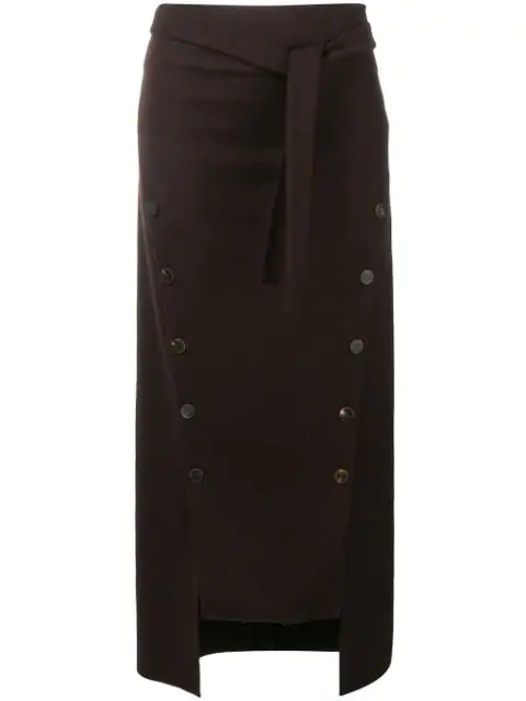 A.w.a.k.e. Double Button Wool Felt Skirt In Brown