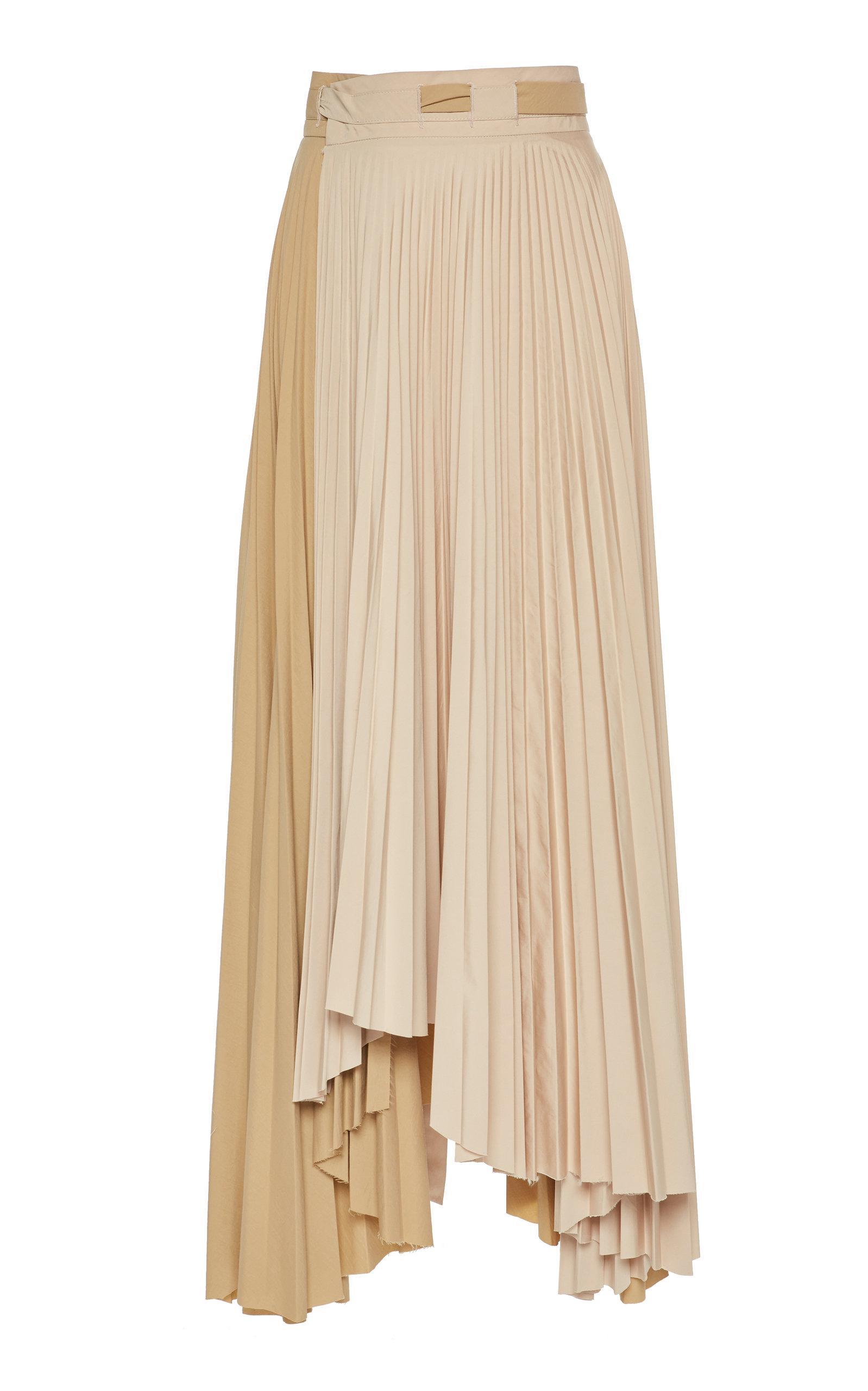A.w.a.k.e. Pleated Tonal Maxi Skirt In Neutral