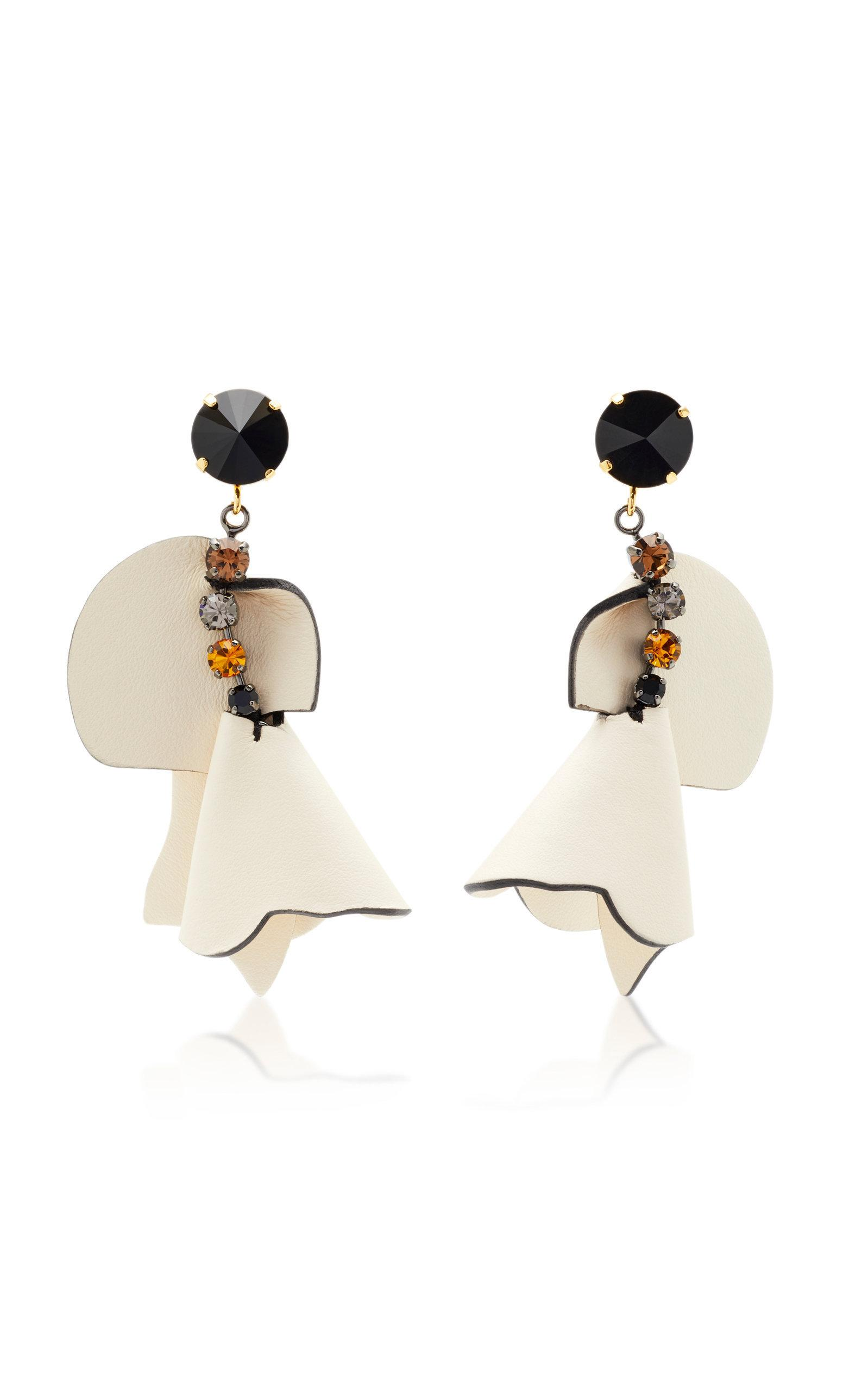 Marni Crystal-embellished Leather Earrings In White