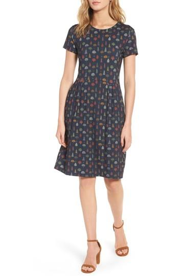 Barbour Ared Tree Print Dress In Navy