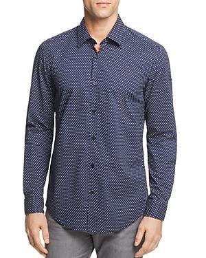 Hugo Boss Lukas Dot Print Button-down Shirt In Navy