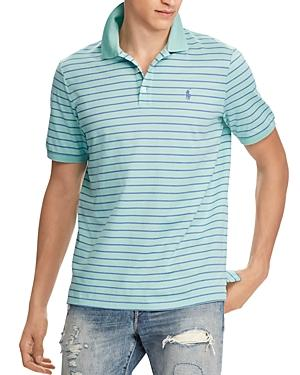 Polo Ralph Lauren Striped Stretch Mesh Classic Fit Polo Shirt In Green