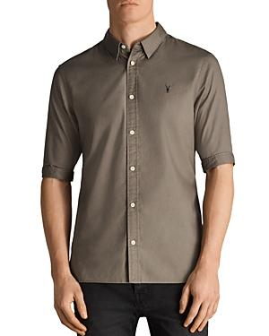 Allsaints Redondo Half Sleeve Slim Fit Button-down Shirt In Olive Green
