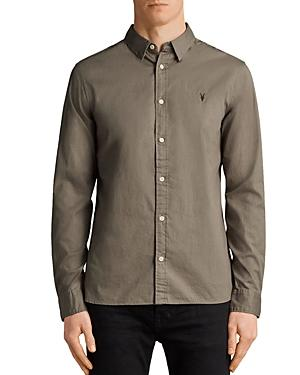 Allsaints Redondo Slim Fit Button-down Shirt In Olive Green