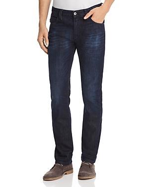 Emporio Armani Straight Fit Five Pocket Jeans In Dark Wash Blue