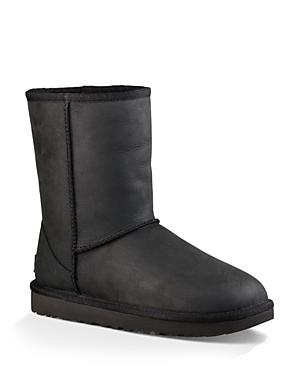Ugg Classic Short Leather And Sheepskin Booties In Black