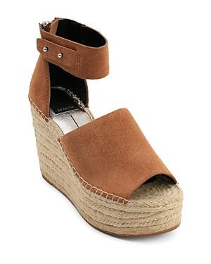 Dolce Vita Women's Straw Suede Platform Wedge Espadrille Sandals In Saddle