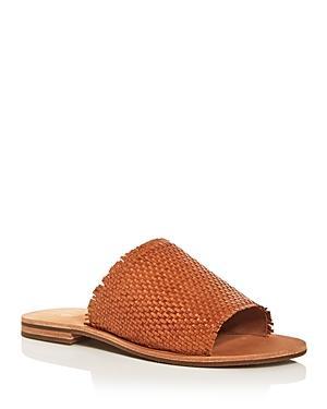 Frye Women's Riley Woven Leather Slide Sandals In Tan