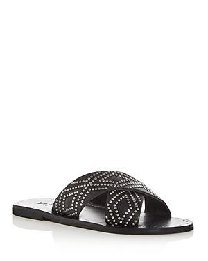 Frye Women's Ally Studded Leather Crisscross Slide Sandals In Black