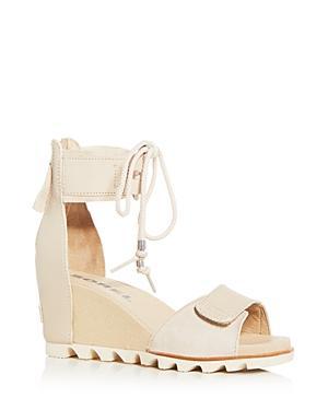 Sorel Women's Joanie Leather & Suede Ankle Tie Wedge Sandals In Oatmeal