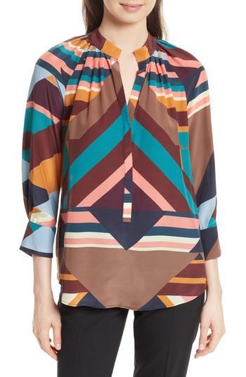 Tracy Reese Geometric Print Silk Peasant Blouse In Geometric Stripe