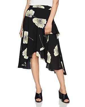 1.state Floral Print Asymmetric-ruffle Midi Skirt In Rich Black