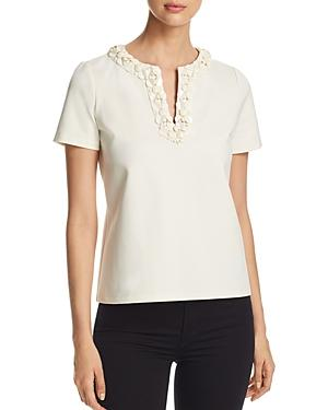 Tory Burch Ayla Embellished Top In New Ivory