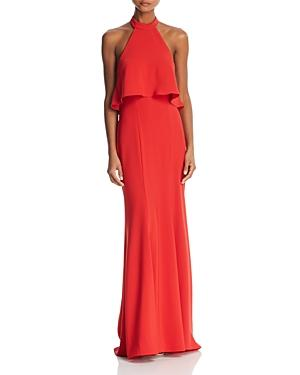 Avery G Ruffle-trimmed Halter Gown In Red