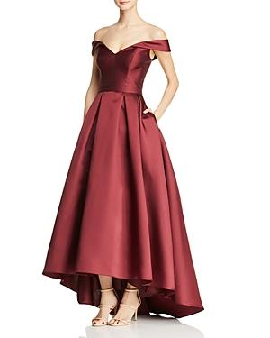 Avery G Off-the-shoulder Ball Gown In Burgundy