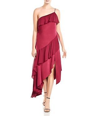 Haute Hippie Laura Asymmetric Ruffled Dress In Raspberry