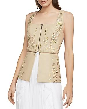 Bcbgmaxazria Embroidered Faux Leather Peplum Top In Dusty Pink