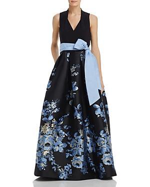 Eliza J Belted Floral Ball Gown In Black/blue